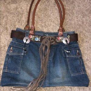Handbags - Boho fringed jean skirt purse